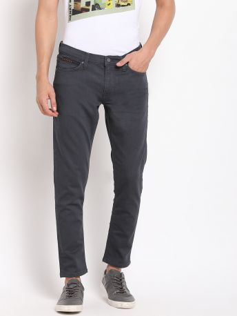 Grey Solid Tapered Fit Jeans